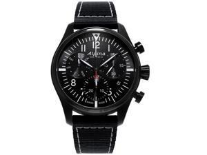 Alpina Men's Startimer Pilot 42mm Black Nylon Band Quartz Watch AL-371BB4FBS6