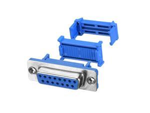 IDC D-Sub Ribbon Cable Connector 15-pin 2-row Female Socket IDC Crimp Port Terminal Breakout for Flat Ribbon Cable Blue Pack of 5