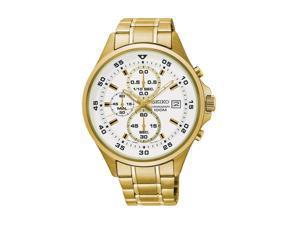 Seiko Men's 42.8mm Gold-Tone Steel Bracelet & Case Quartz Watch SKS632P1