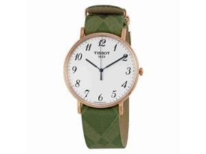 TISSOT MEN'S 42MM GREEN NYLON BAND STEEL CASE QUARTZ WATCH T1096103803200