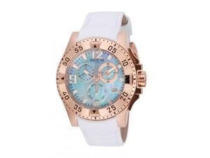 Invicta Women's 40mm Chronograph White Calfskin flame fusion Quartz Watch 16100