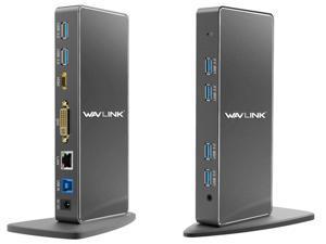 Wavlink USB 3.0 Universal Docking Station, Vertical Aluminum Laptop Docking Station, Dual Monitor Display  USB3.0 Dock For HDMI/DVI/VGA, Gigabit Ethernet, 6 USB 3.0 Ports, Audio, For Windows & Mac