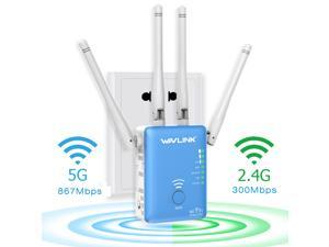 Wavlink AC1200 Dual Band WIFI Range Extender/Repeater/Access point/Wifi Booster/Wireless Router Signal Amplifier, 802.11ac with 4 External Antennas, 2 Ethernet Port, WPS, LED Indicator, Wall Plug