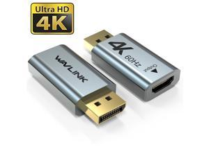 Wavlink Displayport to HDMI Adapter 4K@60Hz, DP 1.2 to HDMI 2.0 Active Converter Support UHD 4K@60Hz, 3D Resolutions up to 1920x1080@120Hz for HDTV, Monitor, Projector, 1-Pack