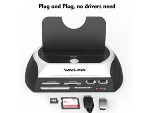 Wavlink USB2.0 to SATA External Hard Drive Enclosure with 2 USB Hub and TF & SD & MS Card For 2.5/3.5 inch HDD/SSD SATA I/II/III, Support Tool Free/One Touch Backup/UASP, LED Indicate, Up to 8TB
