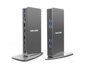 Wavlink USB 3.0 & USB C Ultra HD/5K Universal Laptop Docking Station, Dual 4K Video Display with 2 X HDMI, 2 x DisplayPort, Gigabit Ethernet, 6 x USB 3.0, Audio, Mic, For Windows & Mac by Displaylink