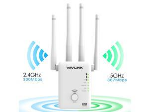 Wavlink 1200Mbps WIFI Range Extender/Access point/Wifi Booster/Wireless Router Signal Amplifier Dual Band (2.4GHz 300Mbps + 5GHz 867Mbps ) with 4 External Antennas, 2 Ethernet Port, WPS, LED Indicator