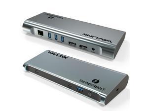 Wavlink 8K Dual DisplayPort Thunderbolt 3 Docking Station with 60W Upstream Charging, Dual DisplayPort 1.4, 3 x USB 3.1(10Gbps), 2 x USB 3.0(5Gbps), Gigabit Ethernet, Audio, for Mac & Windows