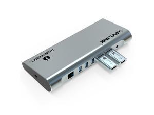 Wavlink 8K Dual DisplayPort Thunderbolt 3 Docking Station with 60W Upstream Charging, Dual DisplayPort 1.4, 3xUSB 3.1, 2 xUSB 3.0, Gigabit Ethernet, Audio, 2xDP to HDMI Adapter for Mac & Windows