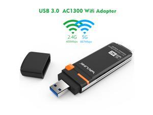 Wavlink AC1300 Wireless Dual Band USB 3.0 WiFi Adapter, Up to 1730Mbps(5Ghz) + 300Mbps(2.4Ghz) For PC Desktop, USB3.0, 802.11ac/a/b/g/n, WPS Button, WPA/WPA2, Support Windows XP/7/8/8.1/10, Mac OS