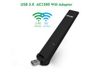 Wavlink AC1300 USB3.0 WIFI Adapter Dual Ban Wireless Network Dongle High Gain Receiver Dongle IEEE 802.11ac/a/b/g/n 5Ghz 867Mbps + 2.4GHz 400Mb with WPS Function For Desktop Laptop Windows MAC Linux