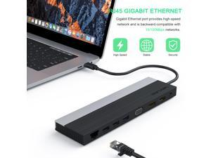 Wavlink USB C Triple Display 4K 12 in 1 MST USB C Docking Station, Type C Systems (DP & HDMI &VGA, USB 3.0&2.0 Ports, SD TF Card Reader, Gigabit Ethernet, Audio For  for MacBook Pro & Windows
