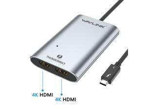 Wavlink Type-C Thunderbolt 3 to Dual HDMI Display Adapter,  Aluminum Adapter Supports Dual HDMI(2.0) displays Up to 4K@60Hz Thunderbolt™ 3 systems from Apple, Dell, HP, Lenovo meet this requirement