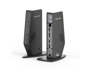 Wavlink USB-C Dual 4K Universal Docking Station with Dual 4K@60Hz&Single 5K, 2 x DisplayPort1.2, 2 x HDMI, 3 x USB 3.0, 2 x Type-C ports, Gigabit Ethernet, Certified by DisplayLink For Windows Mac OS