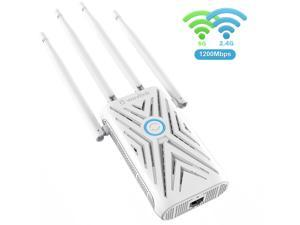 Wavlink AC1200 Dual Band WiFi Range Extender, Access Point Wireless Repeater Signal Amplifier Booster With 4 High Gain External Antennas,  802.11ac, WPA2, WPA, WPS Easy Seu Up, Wall Plug