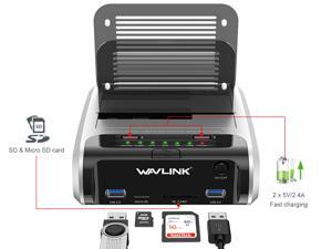 "Wavlink X-MAN USB 3.0 to SATA Dual-Bay Hard Drive Docking Station with Offline Clone & UASP, 2 USB 3.0 Port, 2 Fast Charging Port, SD & Micro SD Card Reader, 7 LED Indication, for 2.5""/3.5"" HDD SSD"