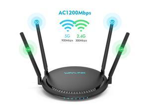 Wavlink 1200Mbps Wireless Router, Dual Band 2.4GHz & 5GHz Gigabit Ethernet WiFi Router IEEE 802.11ac/a/n/g/b Share 4 x 5dBi High Power Omni Directional Antennas, WPS, Smart Mobile APP Management