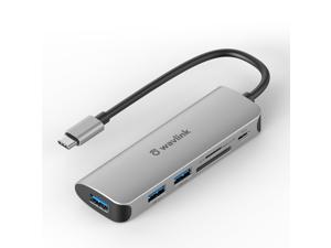 Wavlink Aluminum 6 Ports USB C Hub Powered 65W Charging, Mini USB 3.0 Hub for Laptop with 10.5cm/0.35ft Cable, 3xUSB 3.0, 1xUSB C, 1xSD/TF Card Reader, for Mac, Windows, Surface Pro, XPS, Mobile Phone
