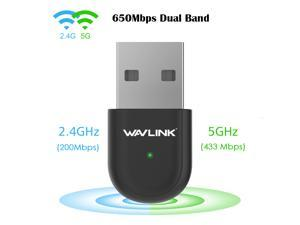 Wavlink 650Mbps USB WiFi Card Dual Band WiFi Adapter 650Mbps, 2.4GHz (200Mbps) /5GHz (433Mbps), 802.11 ac/a/b/g/n Network Card For PC, Desktop, Laptop Windows/Vista/XP/Mac, Windows No Driver Need!