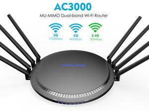 Wavlink AC3000 Tri-Band WiFi Router Smart Gigabit Wireless Router with MU-MIMO, High Gain 8 x 5dBi Antennas, 4 x LAN Full Gigabit Ports, One USB3.0 Port, WPS & IP Qos, Game Router