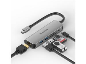 Wavlink USB C Hub, 6-Port USB 3.0 Hub Powered 65W Charging, Mini USB C Hub 3.0 for Laptop with 10.5cm Cable, 2xUSB 3.0, 1xUSB C, 1xHDMI, 1xSD/TF Card Reader, for Mac, Windows, Android, Linux