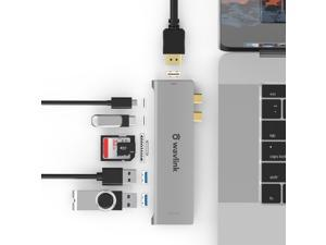 Wavlink USB C Hub, Type C Adapter Mini Docking Station with 4K HDMI Port, 2 USB 3.0, TF/SD Card Reader, USB-C PD3.0 100W  and Thunderbolt 3, LED indicator For MacBook Pro for MacBook Pro/Air