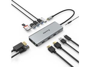 WAVLINK USB C Docking Station,13 in 1 Multiport USB C Adapter Triple Display for MacOS and Windows,USB C Hub with 2 HDMI 4K, DisplayPort, 4 USB, 87W PD, Gigabit Ethernet, SD/TF Card Reader, Mic/Audio