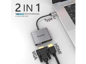 Wavlink USB-C/Type-C to HDMI VGA Alumium Adapter, Thunderbolt 3 Compatible, Type C to Dual VGA HDMI Splitter Converter, Plug & Play for Mac OS, iPad OS, Windows, Android, and Linux systems.