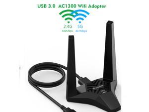 Wavlink AC1300 WiFi Card 1300Mbps USB 3.0 Wireless Adapter 802.11AC Dual Band 2.4GHz/400Mbps 5GHz/867Mbps Network Card, High Gain 3dBi Antennas WiFi Dongle for PC, Windows 10/8/7,Mac OS 10.11 or Later