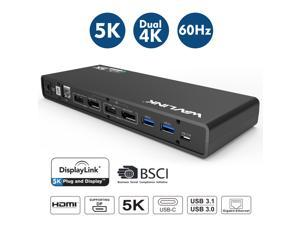 Wavlink Universal 5K USB-C/A Laptop Docking Station, 4K Dual Video Docking Station 2 x HDMI, 2 x DisplayPort, Gigabit Ethernet, USB C in, 6 x USB 3.0, Audio, Mic, For Windows/Mac, NOT power delivery !