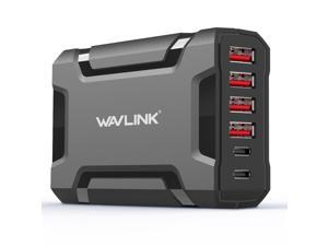Wavlink 60W/12A Transformers Design 6 Port USB C Quickly Charge Desktop Charger Station (Multi Port: 2 USB C, 4USB) Adapter for Nexus 5X Nexus 6P and USB for iPhone, iPad and Android Devices-Black
