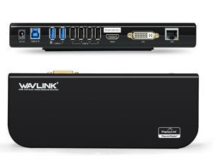 Wavlink USB HD Display Universal Docking Station Dual Video HDMI/DVI/VGA , USB 3.0 & USB 2.0, Gigabit Ethernet Ports, Earphone & Mic in/out, Plug and Play For Windows Mac & Android 5.x Above - Black