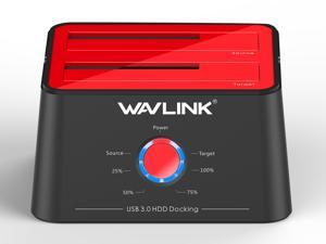 "Wavlink ST334U-Red Updated Hard Drive Docking Station - USB 3.0 to SATA Dual Bay HDD Docking Station in Red for 2.5"" & 3.5"" HDD/SSD SATA I/II/III - Support Offline Clone / Duplicator / Backup / UASP"