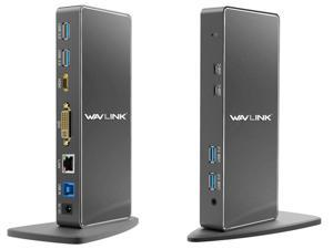 Wavlink USB 3.0 Universal Docking Station, Vertical Aluminum Laptop Docking Station, Dual Video Display USB-C Dock For HDMI/DVI/VGA, Gigabit Ethernet, 2 USB-C Ports, 4 USB 3.0 Ports, For Windows & Mac