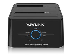 "Wavlink WL-ST334U USB 3.0 to SATA Dual Bay Hard Drive Docking Station for 2.5"" 3.5"" SATA HDD/SSD Storage Dock 2x8TB Hard Drive Enclosure, 5Gbps Data Transfer, UASP, Offline Clone / Duplicator"