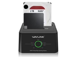 "Wavlink 12TB USB 3.0 Dual Bay External Hard Drive Docking Station Duplicator/Clone Functio for 2.5"" 3.5"" SATA HDD/SSD Hard Drive Enclosure 5Gbps Transmission Rates Offline Clone and One Button Backup"