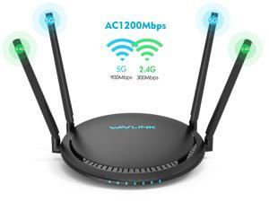 Wavlink 1200Mbps Wireless Router , Dual Band 2.4GHz & 5GHz IEEE 802.11ac/a/n/g/b Gigabit Ethernet WiFi Router  - Share 4 x 5dBi High Power Antennas WPS & IP Qos, Smart Mobile APP Management