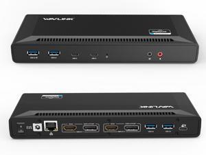 Wavlink USB C Dual 4K HDMI&DP Universal Docking, with 60W Power Delivery, Dual 4K@60Hz, Single 5K@60Hz Displaylink Dock 2 x HDMI, 2 x DisplayPort, Gigabit Ethernet, 2 x USB-C Ports, 4 x USB 3.0, Audio