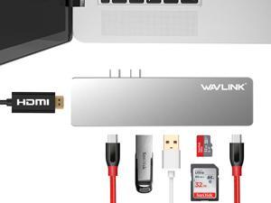 "USB-C Docking Station, USB Type-C Multi-Function Hub Adapter for both MacBook Pro 13"" and 15""  Super Speed Up to 40Gbps, 4K HDMI Video Output, USB-C, microSD/SD Card Reader, 2x USB 3.0 ( silvery )"