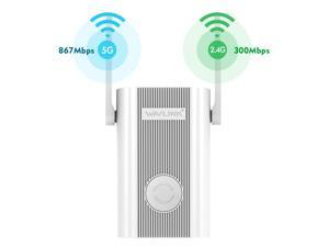 Wavlink AC1200 Dual Band WiFi Range Extender, Access Point Wireless Repeater Signal Amplifier Booster 2.4GHz 867Mbps + 2.4GHz 300Mbps with 2xHigh Gain External Antennas, 802.11ac, WPA2, WPA, Wall Plug