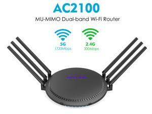 Wavlink AC2100 Dual-band Smart Wi-Fi Router MU-MIMO Full Gigabit Wireless WiFi Router High Gain Antennas With USB3.0 port Streaming & Gaming router, 5GHz/1733Mbps+2.4GHz/300Mbps with Touchlink