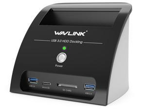 """Wavlink USB 3.0 to SATA Hard Drive Docking Station for 2.5"""" & 3.5"""" HDD SSD with Card Reader and 2-Port Hub [ Supports UASP & up to 10TB]"""