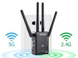 Wavlink Wireless Wifi Router / Range Extender AC1200 w/ 5dBi High Performance Antennas Dual Band 2.4GHz 300Mbps + 5GHz 867Mbps Ethernet Signal Booster Repeater Access Piont for Guest Network - Black