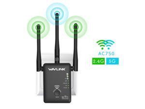 Wavlink Wireless Wifi Router / Range Extender AC750 w/ 5dBi High Performance Antennas Dual Band 2.4GHz 300Mbps + 5GHz 433Mbps Ethernet Signal Booster Repeater Access Piont for Guest Network - Black