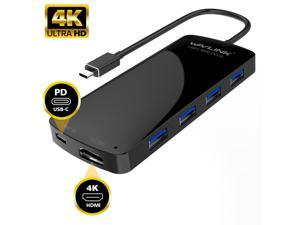 Wavlink USB-C HDMI HUB, 4K HDMI Output, USB 3.1 Type C Hub with Power Delivery for Charging,  6-in-1 USB  Type C to HDMI Adapter Docking Station, SuperSpeed 4x USB 3.0 Ports Up to 5Gbps,Plug and Play