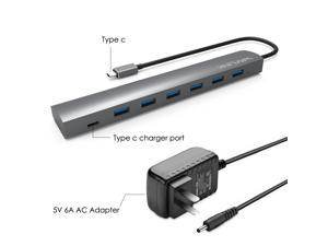 Wavlink 7 Ports USB 3.1 Type-C to USB 3.0 Hub (6 ports USB A 3.0 + 1 USB C Port ) Aluminum Design with 5V 6A US Adapter Super Speed to 5Gbps Multi-function Hot Swapping Support for Mac and Windows