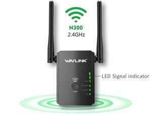 Wavlink N300 Universal Wifi Range Extender/ Access Point/ Router/ Repeater  Wi-Fi Signal Booster Media Bridge, High power 2 x External Antennas, Smart LED Signal Indicator, One-button Setup, Wall Plug