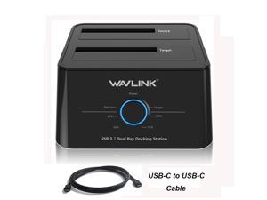 "Wavlink ST334UC USB 3.1 Dual Bay HDD/SSD Docking Station w/ 5Gbps USB-C Cable for All SATA 2.5"" 3.5"" Hard Disk Offline Clone + One Button Backup Multitask External Storage Enclosure - Duplicator Dock"