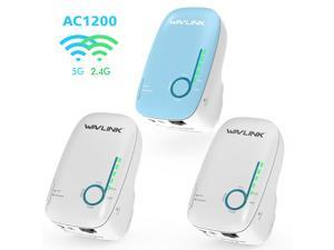 AC1200 Dual-band Whole Home WiFi Mesh System MU-MIMO, Router with 2 Satellite Extender, Coverage Up to 6,000 sq. ft. Gigabit Ethernet ports, Plug and Play, Router Replacement with Night Light, 3 Pack