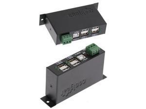 USBGear 12 Volt USB hub Industrial 4-Port USB 2.0 Powered Hub for PC-MAC DIN-RAIL Mount